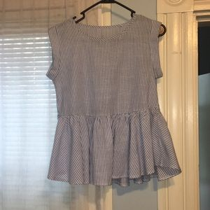 Zara Striped Peplum Top Size Small